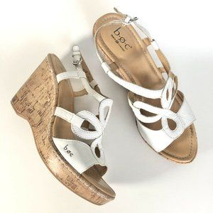 B.O.C. By Born Concepts White Slingback Cork Heel